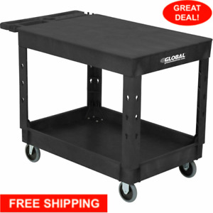 Industrial Service Utility Cart Plastic 2 Flat Black Shelf 44 X 25 1 2 5