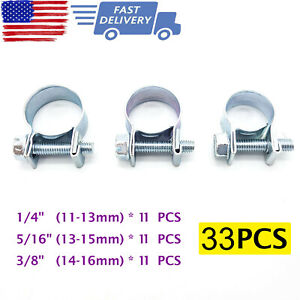 33 Pcs 1 4 5 16 3 8 Fuel Injection Gas Line Hose Clamps Clip Pipe Clamp Us
