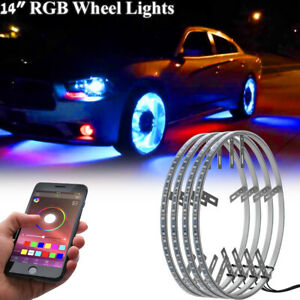 4pcs 14 Led Rgb Ring Wheel Lights W Turn Brake Illuminated Kit Bluetooth App