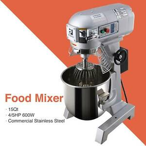 600w Commercial Dough Food Mixer Gear Driven 15qt Stainless Steel Pizza Bakery