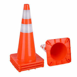 28 Safety Traffic Cones Reflective Collar Strip Sports Training Cone 4 Pcs
