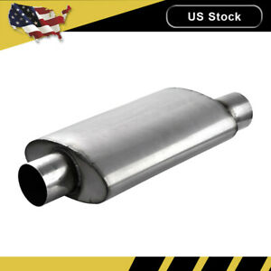 3 Inlet Outlet Muffler Exhaust Silencer Resonator Straight through Oval Us
