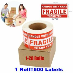 1 20 Rolls 3 X 5 Fragile Stickers 500 roll Handle With Care Labels Usa Shipping