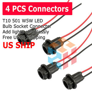4pcs T10 Socket Clearance Cab Marker Light Holder Replacement Connector Harness