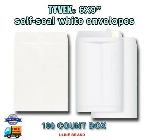 100 Pack Tyvek Self seal White Envelopes 6x9 Inch