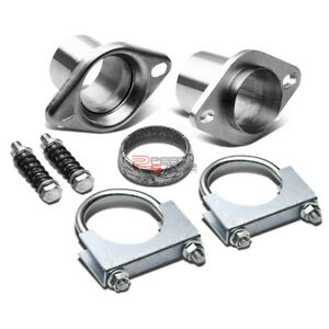 2 5 Polished Header Exhaust Pipe Collector Ball Donut Joint Flange Clamp Gasket
