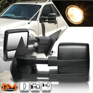 For 04 14 Ford F150 Manual Extendable Black Side Rear View Towing Mirror Pair