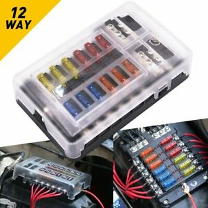 12 Way Blade Fuse Box Holder Circuit Block Panel Car Caravan Boat Dc 32v 12v
