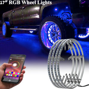 4pcs 17 Led Rgb Ring Wheel Lights W Turn Brake Illuminated Bluetooth For Truck