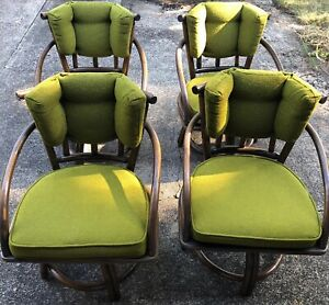 Classic Bamboo Swivel Wood Chairs Rattan Vintage Antique Furniture
