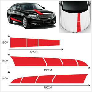 3pcs Red Stripes Style Vinyl Stickers Universal Fit For Car Hood Side Body Decor