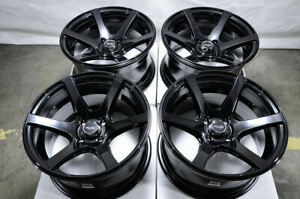 15x8 Black Wheels Fits Civic Jetta Cabrio Integra Aveo Cobalt Spark Mini Rims
