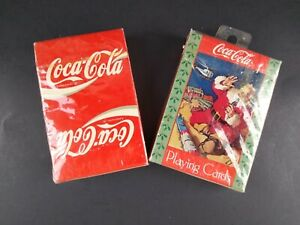 Coca Cola Playing Cards Sealed 2 Decks Coke Logo & Santa Clause with Toy Train