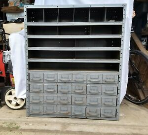 Vintage Equipto Industrial Metal Parts Cabinet W 24 Drawers 5 Divided Shelves