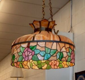 Stained Glass Slag Lamp Chicago Mosaic Shade Co 1910