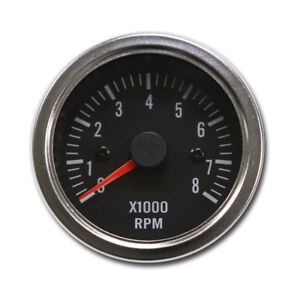 52 Mm Tachometer Gauge Black Face Chrome Rim 0 8000 Rpm Led Light