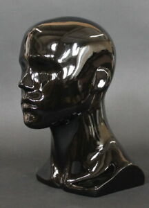 13 5 In H Male Head Mannequin Bust Form Display Mannequin Glossy Black Mh8 hb