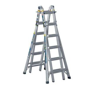 Werner 26 Ft Reach Aluminum 5 in 1 Multi position Pro Ladder With Powerlite