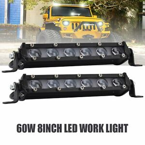 Pair 8inch 60w Led Work Light Bar Driving Fog Lamp For Car Truck Offroad Suv 4x4