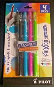 New Pilot Frixion Ball Color Sticks Fine 0 7mm 4 pack Lighter Colors Erasable