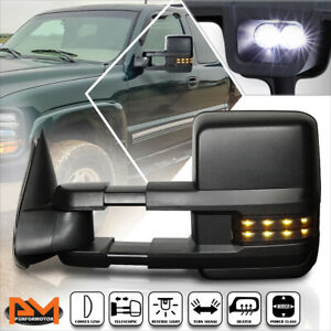 For 99 02 Silverado sierra Power heated Black Towing Mirror smoked Led Lamp Left