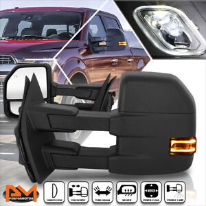 For 15 18 Ford F150 Power heated Black Side Towing Mirror W led Signal Lamp Pair