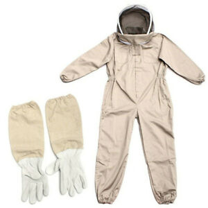 Full Body Anti bee Suit Beekeeping Clothe Cotton Veil Hood Protective gloves Xl