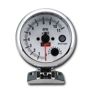 95 Mm 3 3 4 Inches Tachometer Gauge 0 11000 Rpm With Shift Light White Face