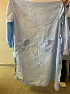 Isolation Gowns With Knit Cuff Washable Dental Medical Ppe Blue Size L