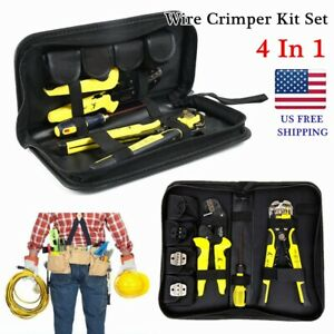 4 In 1 Wire Crimper Engineering Ratcheting Crimping Plier Wire Stripper Tool Set