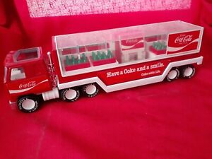 Vintage Buddy L Coca Cola Truck with bottle and Coke Machine 1980