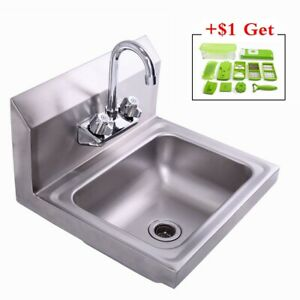 Stainless Steel Hand Wash Washing Wall Mount Sink W faucet Heavy Duty commercial