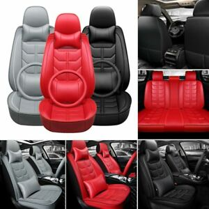 Universal Car Seat Covers 5 Sit Front Rear Pu Leather Interior Auto Cushions Set