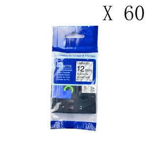 60pk Black On Clear Label Tape Tz 131 Tze 131 For Brother P touch Pt 1750 1 2
