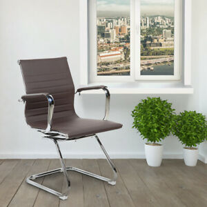 Modern Visitor Office Chair With Built in Lumbar Support Curved Back Seat Brown