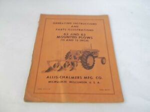 Allis chalmers 62 63 Mounted Plows 10 12 Operation Parts Manual
