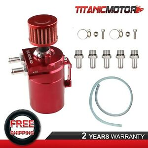 Red Aluminum Oil Catch Reservoir Breather Tank Can W Filter Kit Cylinder Engine