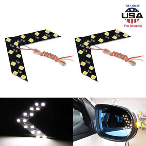 2pcs Car Side Rear View Mirror Led 14 Smd Lamp Turn Signal Light Accessories Wt