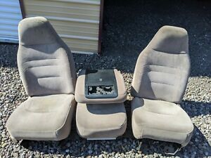 1995 Ford F150 Front Split Bench With Flip Down Console Brown Tan Manual