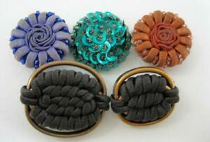 Vintage Lot Of 5 Cloth Fabric Cord Bead Buttons 1