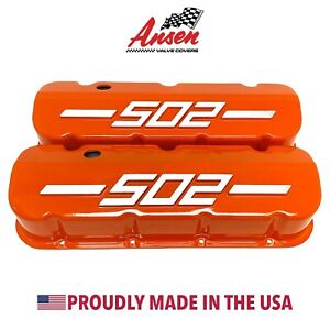 Big Block Chevy 502 Tall Valve Covers Orange With Raised Logo Ansen Usa