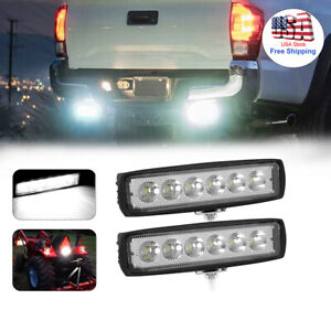 Pair 6 Inch Work Lights Cree Spot Flood Fog Led Light Bar Reverse Spread Beam Us