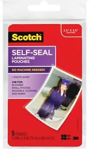 Scotch 3m Self sealing Laminating Pouches 2 5 X 3 5 5 Pk