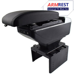 Armrest Box Universal Storage Leather Content Usb Center Console Car Cup Holder