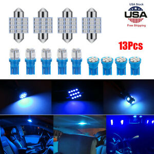 13x Auto Car Interior Led Lights Dome License Plate Lamp 12v Accessories Blue Us