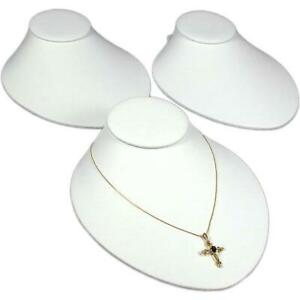 3 White Faux Leather Necklace Bust Slatwall Display