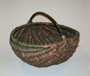 Old Antique Vtg Ca 1900 S Large Willow Gathering Basket Original Paint Very Nice