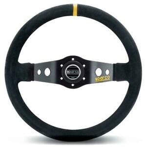 Sparco Competition R215 350mm Suede 2 Spoke Steering Wheel W Yellow Stitching