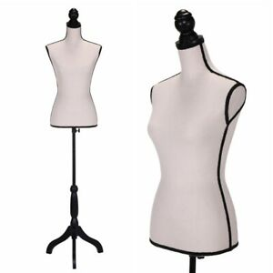 Female Mannequin Torso Dress Form Clothing Display W black Tripod Stand Beige