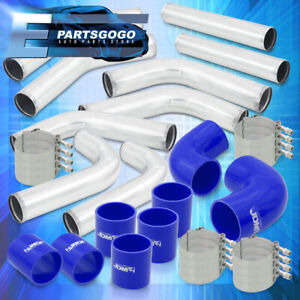 Universal 2 5 Inch Turbo Piping Kit Aluminum Mandrel Bends Clamps Blue Coupler